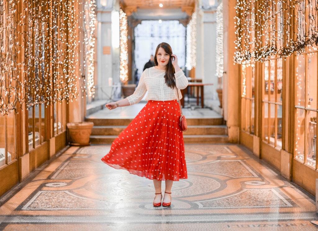 Une jupe longue à pois pour les fêtes